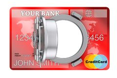 Secure Online Banking Concept. Credit Card with Bank Safe Door. Secure Online Banking Concept. Credit Card with Bank Safe Door on a white background. 3d Stock Photo