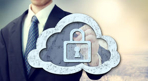 Secure online cloud computing concept. With businessman royalty free stock images