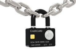 Secure online payment. Credit Card made like a Padlock, with Combination Lock. Chain Royalty Free Stock Image