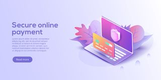 Secure online payment for e-commerce isometric vector illustration. Money transfer via Internet concept with laptop and credit ca. Rd. Safe bank transaction app royalty free illustration