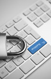Secure online shopping. Close-up view of a computer keyboard with a padlock next to shopping button Royalty Free Stock Photos