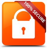 100% secure orange square button red ribbon in corner. 100% secure isolated on orange square button with red ribbon in corner abstract illustration Royalty Free Illustration