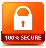 100% secure orange square button red ribbon in middle. 100% secure isolated on orange square button with red ribbon in middle abstract illustration Royalty Free Stock Photography