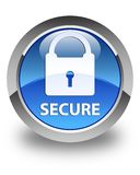 Secure (padlock icon) glossy blue round button Stock Photography