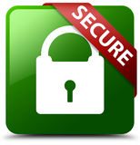 Secure padlock icon green square button Royalty Free Stock Image