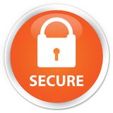Secure (padlock icon) premium orange round button Royalty Free Stock Photography