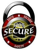 100 secure padlock icon. 100 secure padlock red icon isolated Stock Images