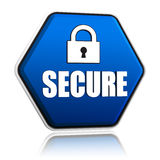 Secure and padlock sign on blue hexagon banner. Secure and padlock sign - 3d blue hexagon banner with white text and symbol, technical security concept Royalty Free Stock Photos