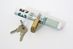 Secure Payment. £5 note with a padlock around it symbolising a secure online payment / transaction Stock Image