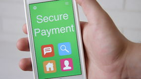 Secure Payment concept application on the smartphone. Man uses mobile app. stock footage