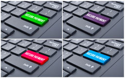 Secure payment concept on computer keypad. As online transfer Royalty Free Stock Photography