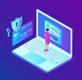 Secure payment. Data protection concept. Personal data protection. Credit card check and software access data as confidential. 3d. Isometric design. Vector royalty free illustration