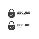 Secure payment icon ssl  encryption transaction. Safe pay money Stock Image