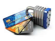Secure payment internet online shopping concept.. Credit cards a Stock Photos