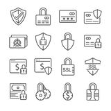 Secure payment line icon set. Included the icons as credit cad, safe, protection, ssl, encryption and more. Royalty Free Stock Photo