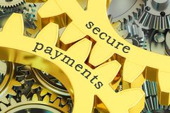 Secure payments concept on the gearwheels, 3D rendering Stock Photos