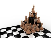 Secure Plan. Ultimate chess pieces arrangement to save the King Royalty Free Stock Photography