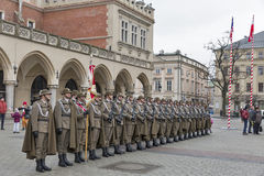 Secure Poland NATO welcome ceremony in Krakow, Poland. Welcome to American troops on Krakow Market Square during picnic Secure Poland dedicated to arriving of stock photography