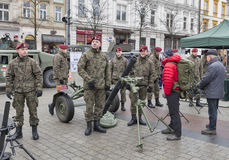 Secure Poland NATO welcome ceremony in Krakow, Poland. Welcome to American troops on Krakow Market Square during picnic Secure Poland dedicated to arriving of royalty free stock images