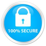 100% secure premium cyan blue round button. 100% secure isolated on premium cyan blue round button abstract illustration Royalty Free Stock Photography