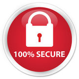 100% secure premium red round button. 100% secure isolated on premium red round button abstract illustration Royalty Free Stock Image