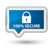 100% secure prime blue banner button. 100% secure isolated on prime blue banner button abstract illustration Royalty Free Stock Photos