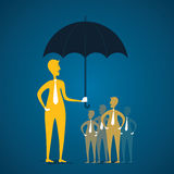 Secure or protect client. Company secure or protect the consumer concept under umbrella vector Stock Photography