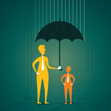 Secure or protect client. Men insure or protect the client in under umbrella by rain concept vector Royalty Free Stock Photo