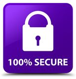 100% secure purple square button. 100% secure isolated on purple square button abstract illustration royalty free illustration