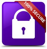 100% secure purple square button red ribbon in corner. 100% secure isolated on purple square button with red ribbon in corner abstract illustration Stock Photography