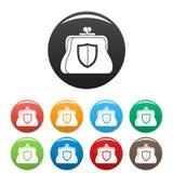 Secure purse icons set color stock illustration