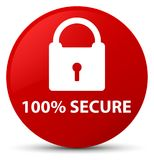 100% secure red round button. 100% secure isolated on red round button abstract illustration Royalty Free Stock Photography