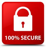 100% secure red square button. 100% secure isolated on red square button abstract illustration Stock Photography
