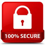 100% secure red square button red ribbon in middle. 100% secure  on red square button with red ribbon in middle abstract illustration Royalty Free Stock Photography