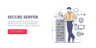 Secure server web banner Royalty Free Stock Images