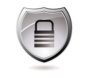Secure shield. Web security icon shield with silver trim and padlock Stock Images
