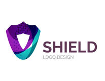 Secure shield logo design made of color pieces Stock Photo