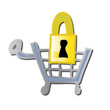 Secure Shopping Cart. A graphic illustration of a shopping cart and padlock to represent secure and safe online shopping vector illustration
