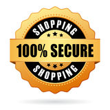 Secure shopping. 100 secure shopping gold medal royalty free illustration
