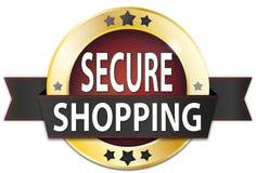 Secure shopping gold metallic round seal badge. Metallic round seal badge on white background stock illustration