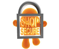 Secure shopping icon. Secure shopping transaction icon symbol Stock Photos