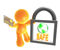 Secure shopping icon symbol. Secure worldwide shopping icon symbol ilustration Stock Images