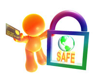 Secure shopping icon symbol. Secure shopping transaction icon symbol Royalty Free Stock Photos