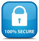 100% secure special cyan blue square button. 100% secure isolated on special cyan blue square button abstract illustration Stock Image
