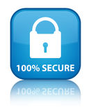 100% secure special cyan blue square button. 100% secure isolated on special cyan blue square button reflected abstract illustration Royalty Free Stock Photo