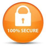 100% secure special orange round button. 100% secure isolated on special orange round button abstract illustration Royalty Free Stock Image