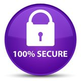 100% secure special purple round button. 100% secure isolated on special purple round button abstract illustration Stock Image