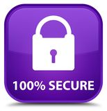 100% secure special purple square button. 100% secure isolated on special purple square button abstract illustration vector illustration