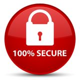 100% secure special red round button. 100% secure isolated on special red round button abstract illustration Royalty Free Stock Images