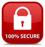 100% secure special red square button. 100% secure isolated on special red square button abstract illustration Royalty Free Stock Image